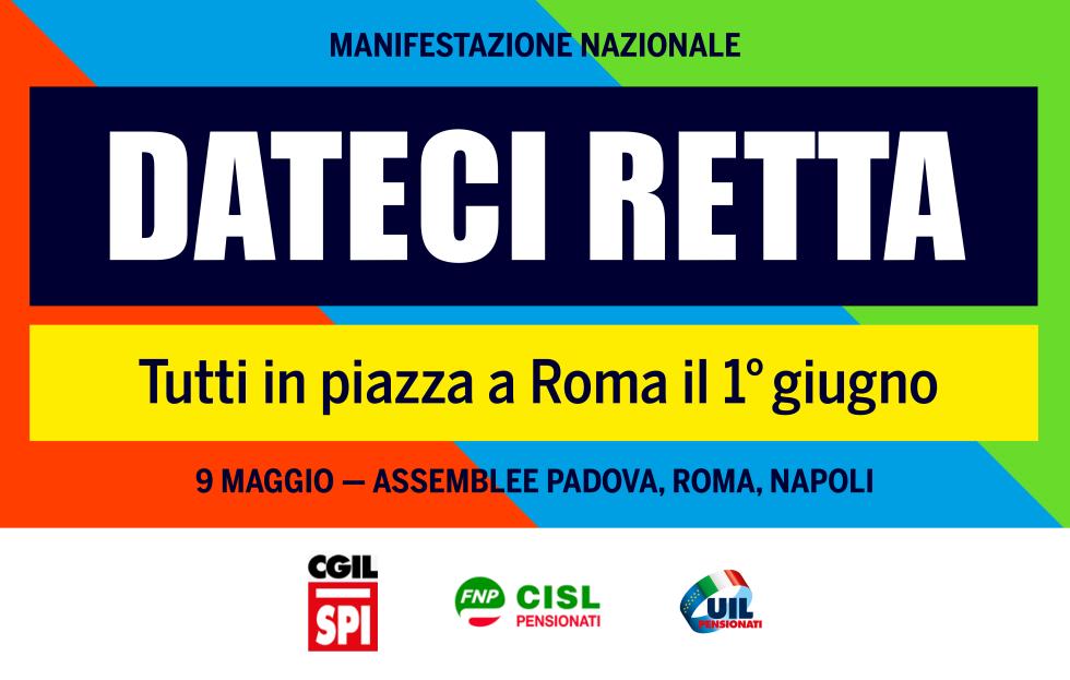 DATECI RETTA: 3 grandi assemblee il 9 maggio e una manifestazione nazionale a Roma il 1 giugno