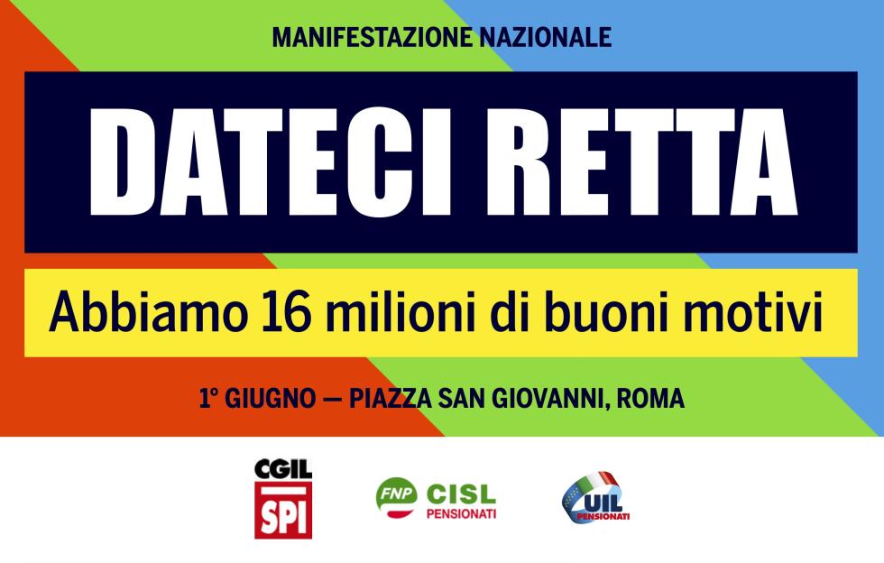 DATECI RETTA, domani la manifestazione dei pensionati in piazza San Giovannia Roma