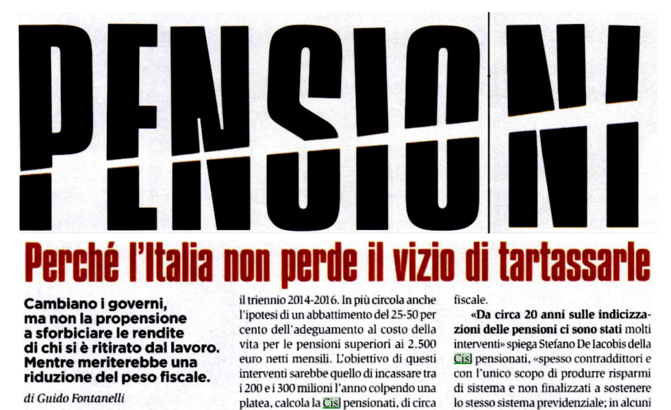 Pensioni, perchè l'Italia non perde il vizio di tartassarle